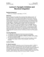 Introduction to Neurobiology - Lecture Notes 09 - Synaptic Inhibition & Neuronal Integration