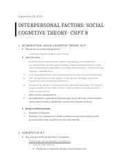 Interpersonal Factors- Social Cognitive Theory- CHPT 8 .docx
