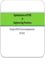 Optimization of STHE & Engineering Practices