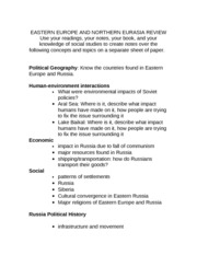 EASTERN EUROPE AND NORTHERN EURASIA REVIEW