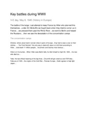 Key battles during WWII