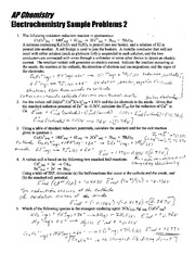 Electrochemistry sample problems key