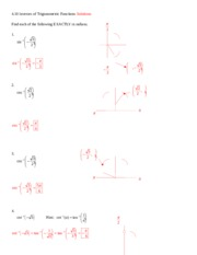 4.10 Inverses of Trigonometric Functions Solutions