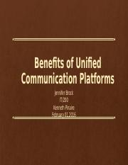 Benefits of Unified Communication Platforms wk2