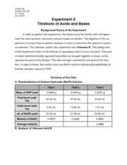 CHEML 122 Titrations of Acids and Bases