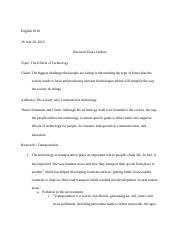 Research Essay Outline