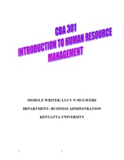 BBA 301 Human Resource Management I