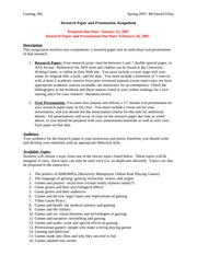 gaming360 research paper assignment