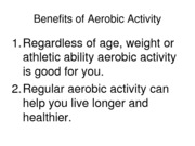 Benefits of Aerobic Activity