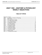 ANAT 1052 September 2013 Weekly Objectives
