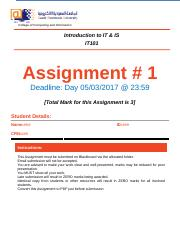 IT101 - Assignments 1 - S2S201617.docx