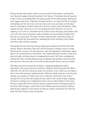 Katniss and the other tributes stand in a ring around the Cornucopia