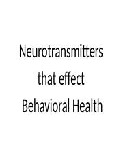 Neurotransmitters that effect Behavioral Health