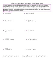 Study Guide on Radicals Equations