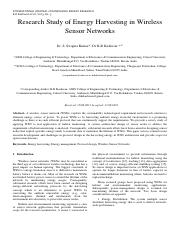 Research Study of Energy Harvesting in Wireless