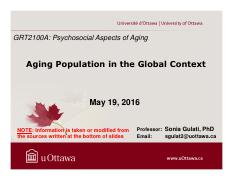 LECTURE 6 - Aging Population in the Global Context