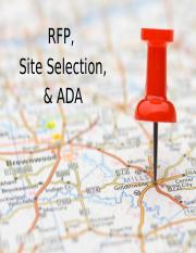 RFP, Site Selection, ADA