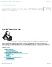 pascals wager essay Pascal's wager is an argument in philosophy presented by the seventeenth-century french philosopher, mathematician and physicist blaise pascal (1623–62.