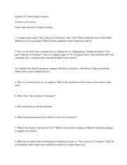English 325 Post Colonial Discussion Questions to Study - Collector of Treasures