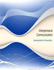 Outline Interpersonal Comm