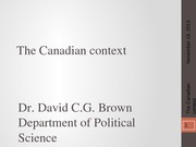 PSCI 2401A - Week 11 - The Canadian context - 2013-11-19
