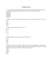 Problem Set 1 for American College Test