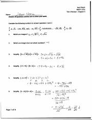 Test 2 Review Solutions