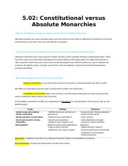 5.02 Constitutional versus Absolute Monarchies NOTES