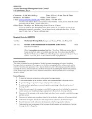 Syllabus RRM 330, Fall 2013