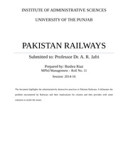 Pakistan Railways - Report
