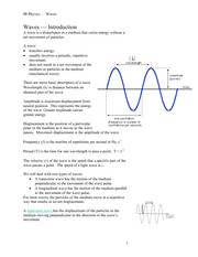 IB PHYS 11 Waves - Introduction Notes