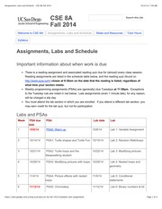 Assignments, Labs and Schedule - CSE 8A Fall 2014