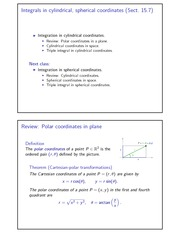 Integrals in cylindrical, spherical coordinates
