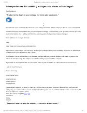 Samlpe Letter For Adding Subject To Dean Of College