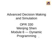 Advanced Decision Making and Simulation1