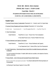 MGSC 485 Spring 2015 - Exam 1 STUDY GUIDE(1)