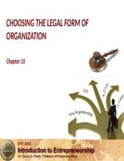 Chapter 10 CHOOSING THE LEGAL FORM OF ORGANIZATION.pptx