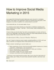 How to Improve Social Media Marketing in 2015