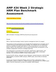 AMP 434 Week 2 Strategic HRM Plan Benchmark Assessment