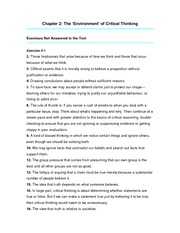 "Chapter 2 Answers - The ""environment"" of critical thinking"