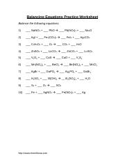 Balancing WS - Balancing Equations Practice Worksheet Balance the ...