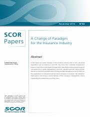 A Change of Paradigm for the Insurance Industry-SCOR