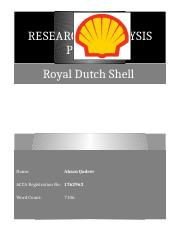 Research & Analysis Project - Royal Dutch Shell