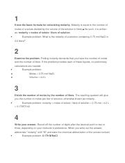 Different steps in finding Molarity