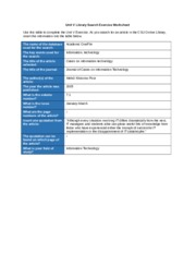 LSS Unit V Library Search Exercise Worksheet