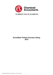 2010 Accredited Tertiary Courses Listing