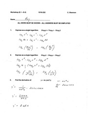 Calculus for Engineering Technology 2 Workshop 6 answers
