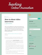 How to shoot video interviews – Teaching Online Journalism