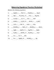 p440 - Balancing Equations Practice Worksheet Balance the ...