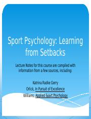 Week 6 Sport Psych lecture setbacks